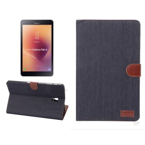 Jeans Cloth Texture Wallet Stand Leather Flip Case for Samsung Galaxy Tab A 10.5 (2018) T590 T595 - Black Blue