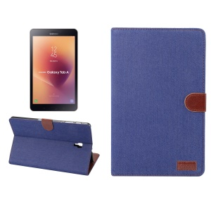 Jeans Cloth Texture Wallet Stand Leather Flip Shell for Samsung Galaxy Tab A 10.5 (2018) T590 T595 - Dark Blue