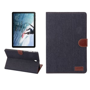 Jeans Cloth Leather Wallet Stand Cover for Samsung Galaxy Tab S4 10.5 T830 - Black Blue