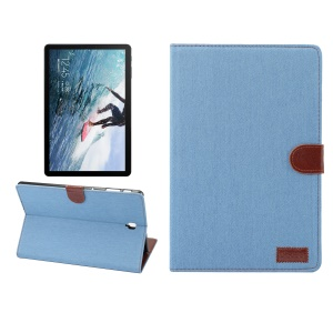 Jeans Cloth Leather Wallet Stand Protection Tablet Cover for Samsung Galaxy Tab S4 10.5 T830 - Baby Blue