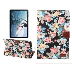 Flower Cloth Skin PU Leather Stand Wallet Protector Case for Samsung Galaxy Tab S4 10.5 T830 - Black