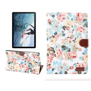 Flower Cloth Skin PU Leather Wallet Stand Cover for Samsung Galaxy Tab S4 10.5 T830 - White