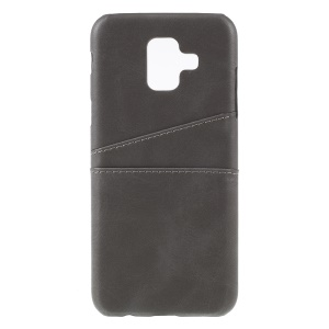 Double Card Slots PU Leather Coated PC Hard Case for Samsung Galaxy A6 (2018) - Grey