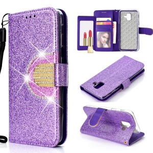 Glitter Powder Rhinestone Decoration Stand Wallet Leather Cell Phone Case with Mirror for Samsung Galaxy A6 (2018) - Purple