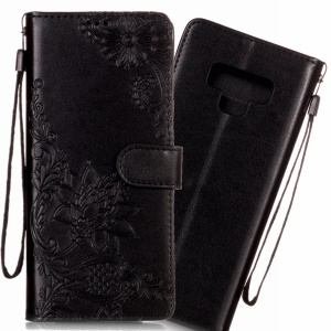 Imprint Vivid Flower Wallet Stand Magnetic Leather Case for Samsung Galaxy Note9 N960 - Black