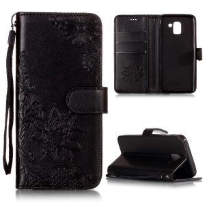 Imprint Vivid Flower Wallet Stand Magnetic Leather Case for Samsung Galaxy J6 (2018) - Black