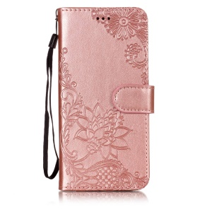 Imprint Vivid Flower Wallet Stand Magnetic Leather Shell for Samsung Galaxy J6 (2018) - Rose Gold