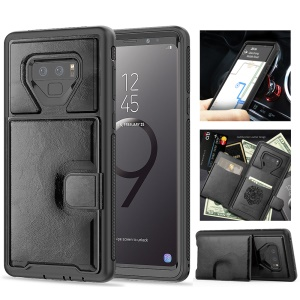 PU Leather Coated TPU + PC Hybrid Case with Kickstand for Samsung Galaxy Note9 N960 - Black