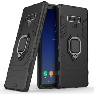 Cool Guard Ring Holder Kickstand PC TPU Hybrid Case for Samsung Galaxy Note9 N960 - Black
