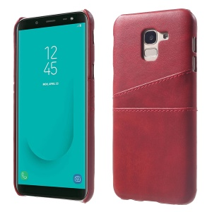 PU Leather Coated PC Hard Case with 2 Card Slots for Samsung Galaxy J6 (2018) - Red