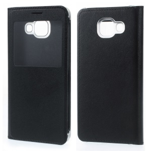 View Window Leather Case for Samsung Galaxy A3 SM-A310F (2016) - Black