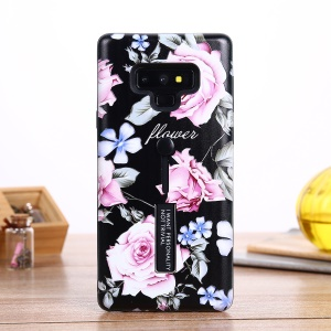For Samsung Galaxy Note9 N960 Flower Pattern Embossed TPU PC Combo Case with Finger Grip and Kickstand - Charming Flower