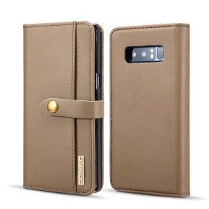 DG.MING Detachable 2-in-1 Split Leather Wallet + Plastic Back Case for Samsung Galaxy Note 8 SM-N950 - Brown