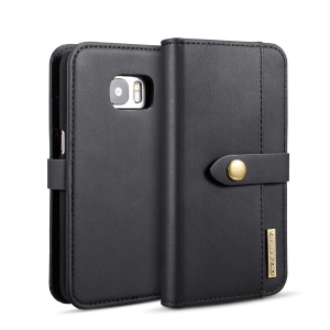 DG.MING Detachable Split Leather Wallet Casing + PC Back 2-in-1 Cover for Samsung Galaxy S7 SM-G930 - Black