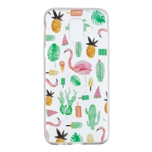 Pattern Printing Flexible TPU Shell Cover for Samsung Galaxy A6 (2018) - Flamingo and Cactus