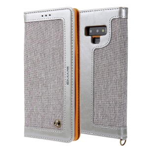 CMAI2 Jeans Cloth PU Leather Wallet Cover with Hand Strap for Samsung Galaxy Note9 N960 - Grey
