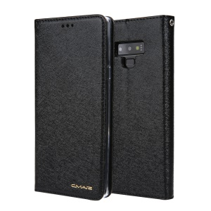 CMAI2 Silk Texture PU Leather Wallet Folio Cover Accessory with Stand for Samsung Galaxy Note9 N960 - Black