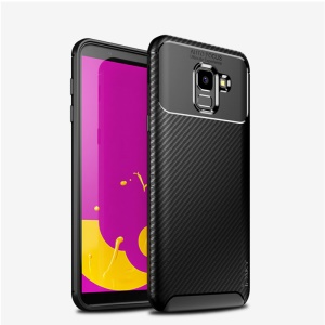 IPAKY Carbon Fiber Texture Soft TPU Heat Dissipation Back Cover for Samsung Galaxy J6 (2018) - Black