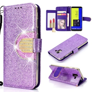 Glitter Powder Rhinestone Decoration Wallet Leather Stand Phone Cover with Mirror for Samsung Galaxy J6 (2018) - Purple
