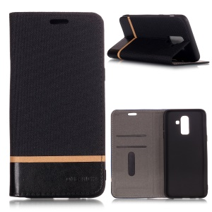 Cloth Texture Splicing PU Leather Flip Case with Card Slots for Samsung Galaxy J8 (2018) - Black