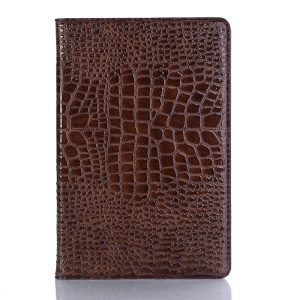Crocodile Texture PU Leather Auto-wake/sleep Wallet Tablet Casing Accessory for Samsung Galaxy Tab S4 10.5 - Brown