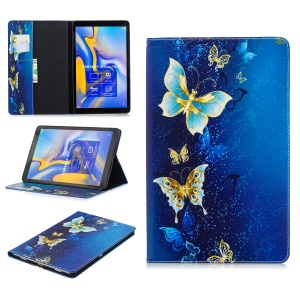 Pattern Printing PU Leather Flip Case for Samsung Galaxy Tab A 10.5 (2018) T590 T595 - Elegant Butterflies
