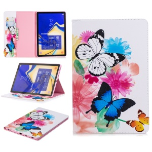 Pattern Printing Leather Wallet Tablet Case Cover for Samsung Galaxy Tab S4 10.5 - Vivid Butterflies