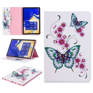 Pattern Printing PU Leather Case with [3 Card Slots] for Samsung Galaxy Tab S4 10.5 - Butterflies and Flowers