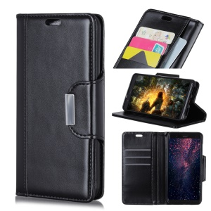 PU Leather Case for Samsung Galaxy J6+ 3 Card Slots All Round Protection Leather Case - Black