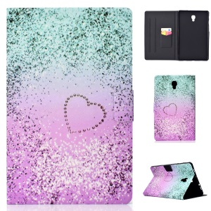Pattern Printing Leather Protection Case for Samsung Galaxy Tab A 10.5 (2018) T590 T595 - Glitter and Heart