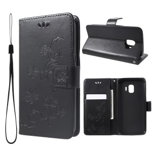Imprint Butterfly Flower Wallet Stand Leather Mobile Case for Samsung Galaxy J2 Core - Black