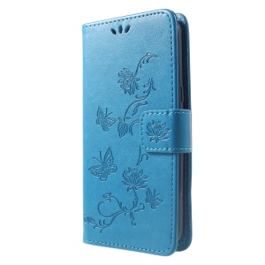 Imprint Butterfly Flower Wallet Stand Leather Cellphone Cover for Samsung Galaxy J2 Core - Blue