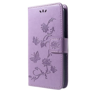 Imprint Butterfly Flower Stand Leather Mobile Wallet Cover for Samsung Galaxy J2 Core - Light Purple