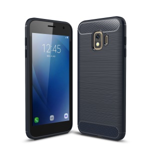 For Samsung Galaxy J2 Core Protection Case [Carbon Fibre] Brushed TPU Cover Shell - Dark Blue