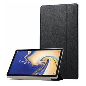 HAT PRINCE Silk Texture Tri-fold Stand Leather Smart Case for Samsung Galaxy Tab S4 10.5 T830 T835 - Black