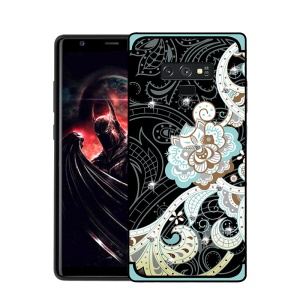 NXE Unique Series Flower Pattern Printing Rhinestone Decorated Soft TPU Protection Case for Samsung Galaxy Note9 N960 - Blue