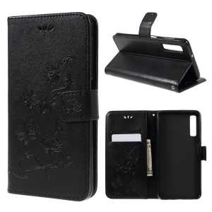 Imprint Butterfly Flower PU Leather Magnetic Wallet Phone Case for Samsung Galaxy A7 (2018) - Black