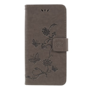 Imprint Butterfly Flower PU Leather Magnetic Wallet Phone Shell for Samsung Galaxy A7 (2018) - Grey