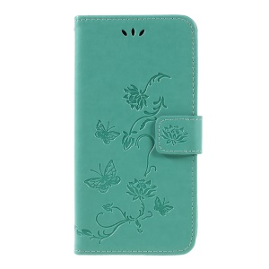 Imprint Butterfly Flower PU Leather Magnetic Wallet Shell for Samsung Galaxy A7 (2018) - Green