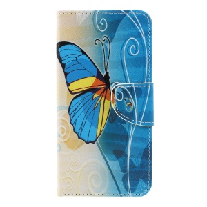 Cross Texture Patterned Wallet Leather Protective Case for Samsung Galaxy A7 (2018) - Blue Butterfly