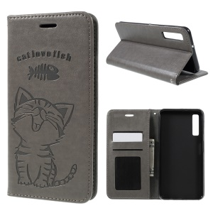 For Samsung Galaxy A7 (2018) Imprint Cat and Fish Bone Wallet Stand Leather Phone Cover - Grey