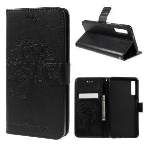 Imprint Tree Owl Magnetic Wallet PU Leather Cover with Stand for Samsung Galaxy A7 (2018) - Black
