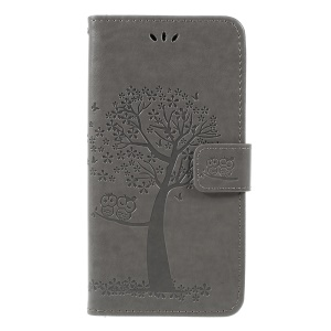 Imprint Tree Owl Magnetic Wallet PU Leather Case with Stand for Samsung Galaxy A7 (2018) - Grey