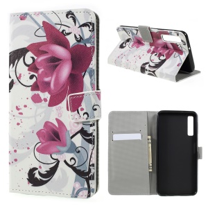 Pattern Printing PU Leather Magnetic Wallet Stand Case for Samsung Galaxy A7 (2018) - Purple Flower
