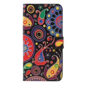 Pattern Printing PU Leather Magnetic Wallet Stand Shell for Samsung Galaxy A7 (2018) - Abstract Pattern