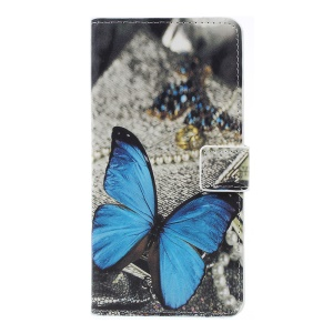 Pattern Printing PU Leather Magnetic Wallet Stand Flip Case for Samsung Galaxy A7 (2018) - Blue Butterfly