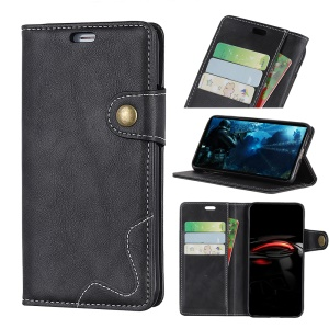S-shape Textured PU Leather Case (Stand and Wallet) for Samsung Galaxy A7 (2018) - Black