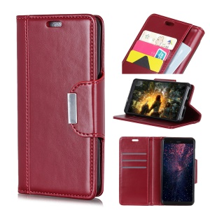 PU Leather Case for Samsung Galaxy J4+, 3 Card Slots All Round Protection Leather Shell - Red
