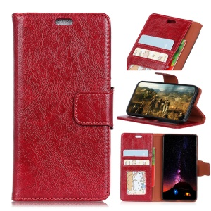 Textured Split Leather Stand Phone Flip Case Cover for Samsung Galaxy J4+ - Red