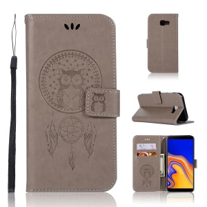 Imprint Owl Dream Catcher Wallet Stand Leather Cover for Samsung Galaxy J4 Plus - Grey